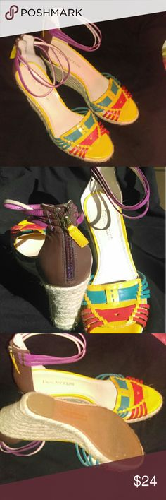 """Enzo espadrilles - plum, mustard, teal, coral 9M Funky ankle wrap platform espadrilles in jewel toned shades of plum, mustard, coral, brown, and teal. Zips up the back with three straps enveloping your ankle. Virtually no wear these - see photos. Leather & manmade upper. Style is Eafalera. Size 9. 3.5"""" heel. Enzo Angiolini Shoes Espadrilles"""