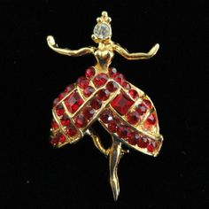 DEMARIA Ballerina Pin ~ Rhinestone and Gold Tone from lindastreasurenest on Ruby Lane