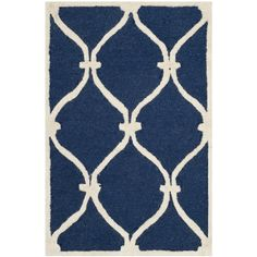 Safavieh Handmade Moroccan Cambridge Navy/ Ivory Wool Rug (2'6 x 4')