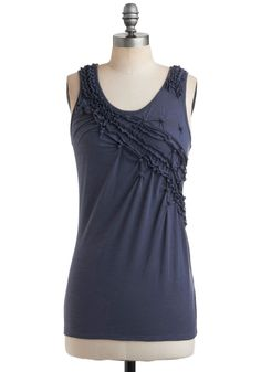 Wild Blueberries Top - Blue, Solid, Ruffles, Casual, Tank top (2 thick straps), Spring, Summer, Scoop, Mid-length, Sheer, Blue, Sleeveless, Good