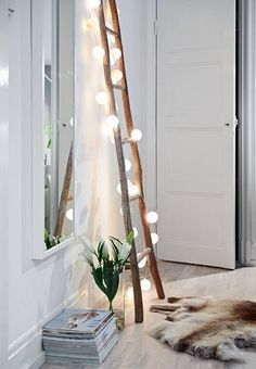 Ladders can be great shelves or brighten up a dark corner with some beautiful fairy lights wrapped around