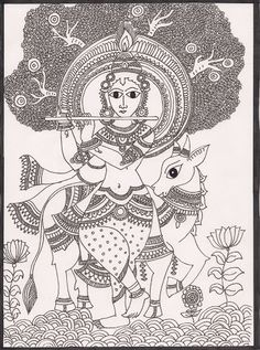 Madhubani Paintings - madhubani artist - Álbumes web de Picasa Worli Painting, Fabric Painting, Art Forms Of India, Traditional Paintings, Traditional Art, Madhubani Art, Indian Folk Art, Madhubani Painting, Outline Drawings