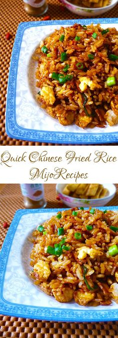{Chinese Recipes} Chinese fried rice recipe is a popular chinese recipe. You can even use left-over rice to make this. My chinese fried rice recipe is very quick and easy to make, so be sure to check it out! #nom #food #foodie