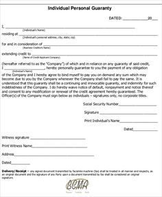 Personal Guarantee Form For Excel, PDF And Word