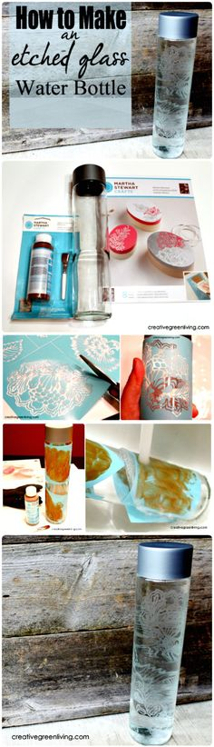 Etched Glass Water Bottle - 240 Easy Craft Ideas to Make and Sell - Page 3 of 24 - DIY & Crafts