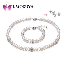 J.MOSUYA Natural Pearl Jewelry Set Women Real Freshwater Pearl Earring Necklace Set Jewelry Gift