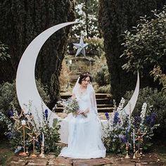 Moon Stars Wedding Ideas in Classic Blue Gold Galaxy Wedding, Starry Night Wedding, Moon Wedding, Celestial Wedding, Bali Wedding, Wedding Venues, Dream Wedding, Wedding Ideas, Wedding Inspiration