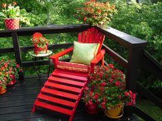 red in the garden