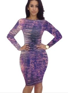 Image of Purple Printed Bodycon Dress