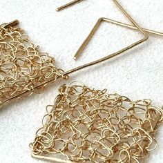 Modern square geometric gold earrings  crochte wire by Yoola, $42.00