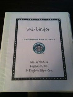 Tales Of Teaching In Heels: Sub Binder---Specific for High School teachers!