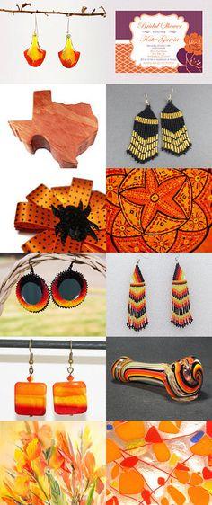 Les boucles d'oreilles comme une aquarelle dégradé aux couleurs du feu. This girl is on fire! by Michele on Etsy--Pinned with TreasuryPin.com