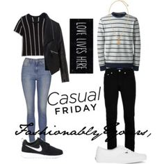 Women: The perfect striped knit T paired with the perfect light washed skinny jeans shows us just how comfy and fashion forward you can be. Get even more comfy with a pair of nike sneakers.  Men: Stripe is a great go to pattern to wear, especially for this #CasualFriday. Why not pair this striped sweater with your favorite black skinny jeans. A pair of true white vans always does the trick for style and comfort. Don't forget to add a little bling with a versace gold pendant.
