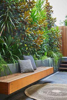 Stanmore landscape design project Photography Natalie Hunfalvay – Famous Last Words Backyard Garden Design, Garden Landscape Design, Backyard Patio, Landscape Designs, Modern Garden Design, Backyard Designs, Steep Backyard, Courtyard Design, Courtyard Ideas