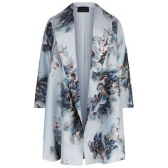 Marina Rinaldi Shawl Collar Floral Print Coat (22,125 MXN) ❤ liked on Polyvore featuring plus size women's fashion, plus size clothing, plus size outerwear, plus size coats, coats, outerwear, jackets, coats & jackets, sweaters and shawl collar coat