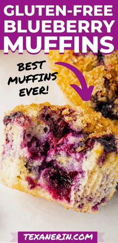 These gluten-free blueberry muffins are easy to make, perfectly sweet and have an amazing texture. With a dairy-free option. A great gluten-free recipe! #glutenfree #dairyfree #glutenfreemuffins Gluten Free Blueberry Muffins, Blue Berry Muffins, Gluten Free Baking, Gluten Free Recipes, Paleo Carrot Cake, Chocolate Banana Muffins, Dairy Free Options, Baking Flour, Glutenfree