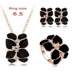 Jewelry Set Rose Gold Plate Austrian Crystal Enamel Earring/Necklace/Ring Flower Set
