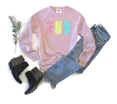 000eb5ce63f4a Easter Shirt Women. Sequin Patch. Sweatshirt. Easter Gift for Her. Bunny  Sweater. Cute. Easter Bunny. Chillin with my Peeps. Pastel Rabbit