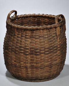 American Split Woven Two Handle Basket, century