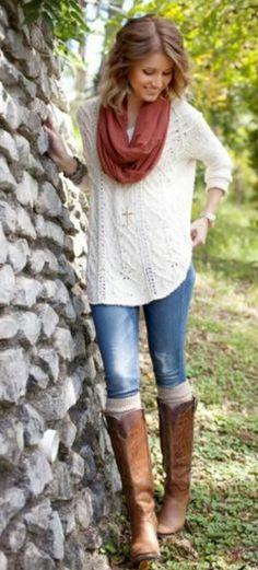 Amazing White Sweater with Blue Jeans and Stylish Brown Scarf, Denim and Long Boots