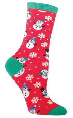 When you look at these snowmen, you're guaranteed to smile! Crew length women's sock with happy dressed up snowmen celebrating in the snow - the snowflakes are lined with gold thread. Available in grey or red. Fits a women's shoe 5-10.