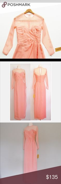 """Vintage Chiffon Sweetheart-Neck Dress A vintage 1980s dress in a beautiful peachy pink salmon colored sheer chiffon. The bodice has ruching and boning that creates a sweetheart neckline with a sheer top to cover the collarbone and long sleeves with pressbuttons at ends. Original Victor Costa.   MEASUREMENTS Bust: 32"""" Waist: 26"""" Hips: 36"""" Overall length from top of shoulders to bottom hem: 58"""" *Tag says size 6 but this will fit size 2-4 better (I'm a 6 - too tight for me width-wise). Gorgeous…"""