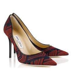 Red and Navy Woven Fabric and Patent Pointy Toe Pumps | Abel | Spring Summer 2014 | JIMMY CHOO