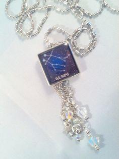 Gemini Constellation Necklace, Zodiac Pendant Astrological Jewelry, Horoscope,