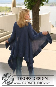 """DROPS jacket knitted from side to side in 2 strands """"Alpaca"""". Size S-XXXL. ~ DROPS Design"""