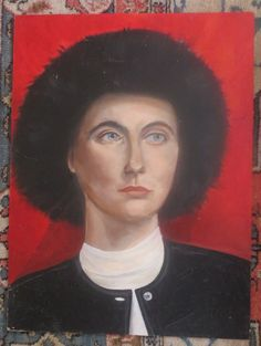 Vintage Oil Portrait WOMAN ' Mary' in BLACK FUZZY Russian Hat Signed c1984  #Realism