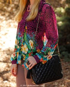 tropical print blouse