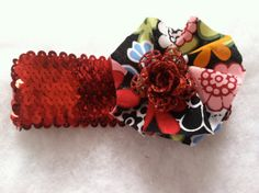 Adorable red sequin headband with handmade fabric by HairFlairLady, $6.00