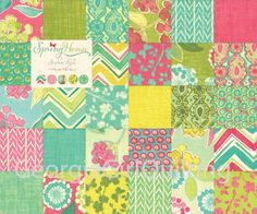 """Spring House Charm Pack Moda Fabrics Quilt Fabric 42 - 5"""" Squares Kit New on Etsy, $7.99"""