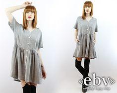 #Vintage #90s #Grunge Black Gingham Mini Babydoll #Dress, fits M/L by #shopEBV http://etsy.me/1q4w82z @Etsy #etsy #fashion #style #summer, $48.00