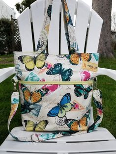 Convertible  Butterfly Foldover Tote Bag/Canvas Tote Bag/Fold Over Tote Bag/Crossbody Tote Bag/Diaper tote Bag/Convertible Bag/Gift for Her