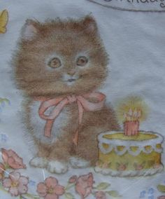 Vintage Cat Paper Napkins Sealed Kitten Decoupage Old Birthday Cake Candle Kitty