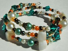 Multi Color Bracelet Chunky Bead Bracelet Coral by mscenna on Etsy, $15.00