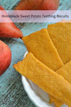 Homemade Sweet Potato Teething Biscuits - - Parents of a teething baby, grab some sweet potatoes when you are at the grocery store. Make these homemade sweet potato teething biscuits. Toddler Meals, Kids Meals, Toddler Food, Toddler Recipes, Teething Cookies, Baby Teething Biscuits, Baby Cookies, Cookies For Babies, Baby Food Recipes