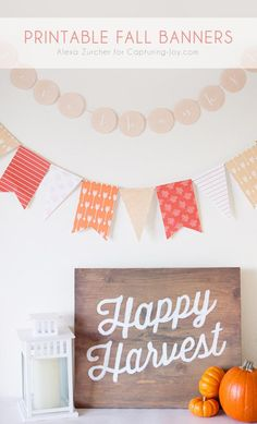 The best DIY projects & DIY ideas and tutorials: sewing, paper craft, DIY. Best Diy Crafts Ideas For Your Home Printable Fall Banner for Thanksgiving decorations -Read Thanksgiving Crafts, Thanksgiving Decorations, Fall Crafts, Diy Crafts, Fall Decorations, Thanksgiving Banner, Free Printable Banner, Free Printables, Fall Banner