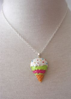 Large ice Cream Cone Pendant  Lime & Pink Kawaii by millypopsuk, $8.50