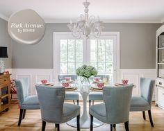 Fresh, New-Trad Dining Room   Looking for the perfect paint shade to pair with pretty upholstered dining chairs? Designer Alison Giese found it withBEHR®️ Park Avenue MQ2-55. This lovely greige looks especially modern when paired with white-painted moulding and trim.   Photographer: Robert Radifera   Designer: Alison Giese Interiors; styling, Charlotte Safavi   #sponsored #behr #behrpaint #paintcolour #paintcolor