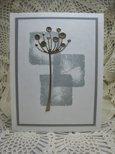 ihandmade card created by bjk ... shades of gray ... artistic look ... stamped shadow squares ... Memory Box chloe stem ... great card!!
