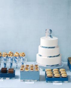 Blue and white dessert bar