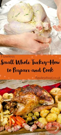 Looking for advice on cooking a simple Small Whole Turkey, this recipe is for making a Perfect tender whole Turkey between 2kg to 4kg (4lb - 8lb). We take you through every step of making the best Roast Turkey Christmas Dinner! From where to buy a small turkey, whether to buy fresh or frozen and how to safely defrost a frozen whole turkey. To what to stuff with, how to remove a wishbone and string the poultry. And finally, of course, the temperature and cooking times and how to carve? Thanksgiving Recipes, Holiday Recipes, Best Christmas Dinner Recipes, Thanksgiving Leftovers, Thanksgiving Feast, Holiday Meals, Holiday Dinner, Christmas Roast, Christmas Lunch