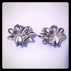 Vintage Coro brand silver tone clip-on earrings Estate sale find. Vintage Coro Brand Art Deco style costume clip-on earrings. Excellent used condition. Coro Jewelry Earrings