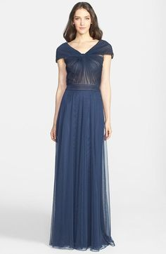 Tadashi Shoji Portrait Collar Pleated Mesh Gown (Regular & Petite) - dress for pear bodyshape #pearbody