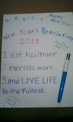 New Year's Resolution 2013 using BIC 4 in 1 pen. (free product through Smiley360)