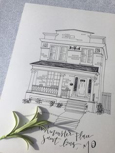 Custom Home Sketch Simple Black & White Illustration of your home, apartment building, office, college...