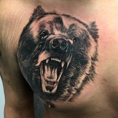 """90 Likes, 3 Comments - Sammy DeCaen (@boomtown_tattoos) on Instagram: """"Blocked in this Bear cover up, gonna finish it up next session and add the details #tattoo…"""""""