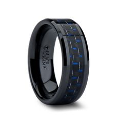 Are you Frank the Tank or Mitch the Lover? Either way this Beveled Black Ceramic ring with its Black and Blue Carbon Fiber Inlay will be the perfect way to remember Blue on your new journey through life.